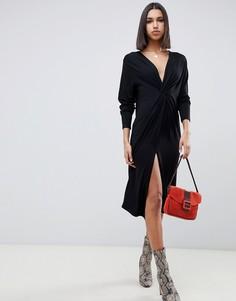 Свободное платье миди с длинными рукавами и узлом спереди ASOS DESIGN - Черный