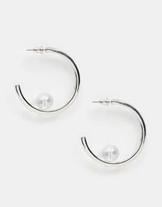Серьги-кольца с камнями Missguided - Серебряный