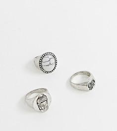3 серебристых кольца-печатки Reclaimed Vintage Inspired эксклюзивно для ASOS - Серебряный