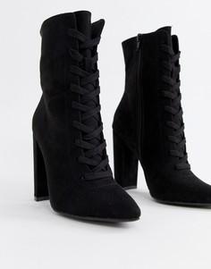 Ботинки на каблуке со шнуровкой ASOS DESIGN Elicia - Черный