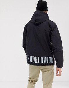 Черная стеганая спортивная куртка с вышитым логотипом на спине HUF - Черный