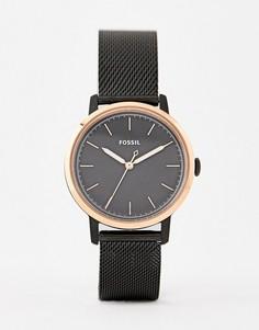 Черные часы с сетчатым браслетом Fossil ES4467 Neely - 34 мм - Черный