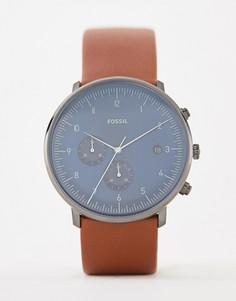 Светло-коричневые часы с кожаным ремешком Fossil FS5486 Chase - 42 мм - Рыжий