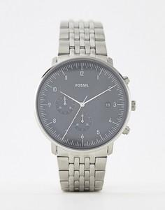 Серебристые наручные часы Fossil FS5489 Chase - 42 мм - Серебряный