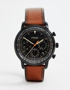 Часы со светло-коричневым кожаным ремешком Fossil FS5501 — 44 мм - Рыжий