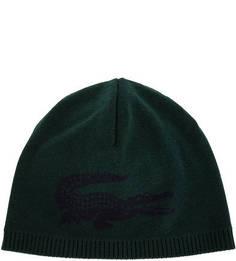 Зеленая шерстяная шапка мелкой вязки Lacoste