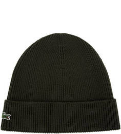Шерстяная шапка цвета хаки мелкой вязки Lacoste
