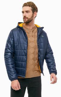 Короткая синяя куртка с капюшоном Lacoste