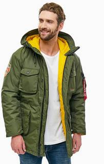 Куртка цвета хаки с нашивкой на рукаве Alpha Industries