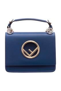 Синяя сумка с золотистым логотипом Kan I Fendi