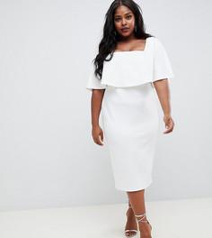 Двухслойное платье миди с квадратным вырезом ASOS DESIGN Curve - Белый