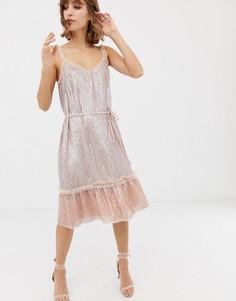 Платье миди с пайетками и поясом Needle & Thread - Синий
