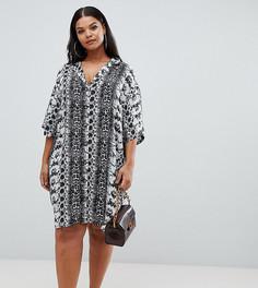 Платье-рубашка мини со змеиным принтом ASOS DESIGN Curve - Мульти