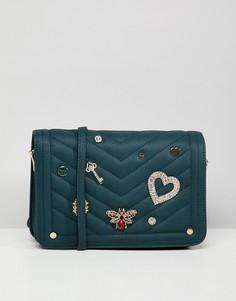Черно-зеленая сумка через плечо с отделкой Dune Devania - Зеленый