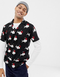 Новогодняя рубашка с короткими рукавами Another Influence - Кремовый
