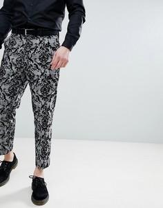 Черные зауженные брюки в клетку с флоковым принтом ASOS DESIGN - Черный