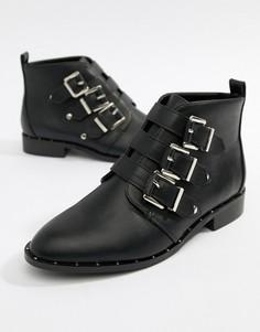 Ботинки на плоской подошве с пряжками Park Lane - Черный