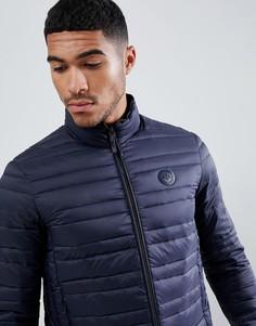 Темно-синяя дутая куртка с логотипом на груди Armani Exchange - Темно-синий