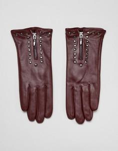 Кожаные перчатки с молнией и заклепками Barneys Originals - Красный