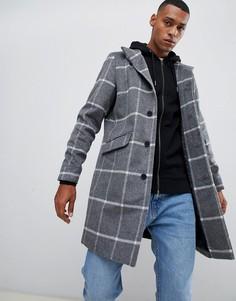 Шерстяное пальто в клетку с воротником-стойкой Only & Sons - Серый