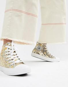 Серебристо-золотистые высокие кеды с пайетками Converse Chuck Taylor All Star - Мульти