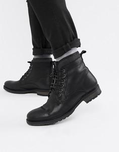Черные кожаные ботинки на шнуровке с искусственной меховой подкладкой ASOS DESIGN - Черный