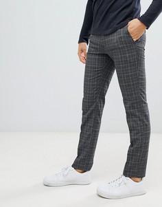 Зауженные брюки в клетку Moss London - Серый
