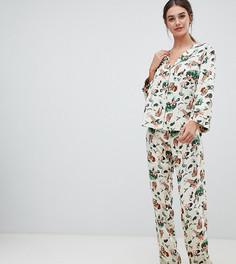 Традиционная пижама из 100% модала с принтом сафари ASOS DESIGN Tall - Кремовый