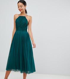 Премиум-платье макси для выпускного из тюля ASOS DESIGN Tall - Зеленый