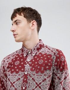 Бордовая приталенная рубашка с платочным принтом Pretty Green - Красный