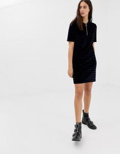 Велюровое платье в полоску на молнии Maison Scotch - Черный