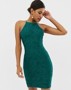 Кружевное платье миди изумрудно-зеленого цвета Paper Dolls - Зеленый