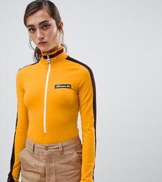 Боди на молнии с контрастными полосками на рукавах Ellesse - Желтый