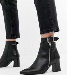 Кожаные ботинки на каблуке для широкой стопы с молниями Depp - Черный
