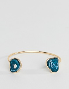 Золотистый браслет-манжета с искусственным агатом ASOS DESIGN - Золотой