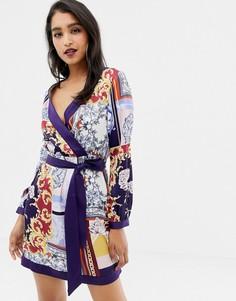 Атласное платье с платочным принтом Lipsy - Мульти
