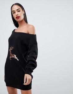 Новогоднее платье с открытыми плечами и оленем из пайеток Club L - Черный