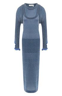 Платье-макси с металлизированной нитью Chloé