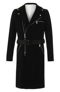 Шерстяное пальто на молнии с поясом Emporio Armani