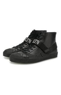 Высокие кожаные кеды Valentino Garavani VLTN на шнуровке Valentino