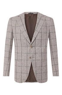 Шерстяной однобортный пиджак в клетку Giorgio Armani