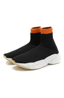 Высокие текстильные кроссовки без шнуровки Acne Studios