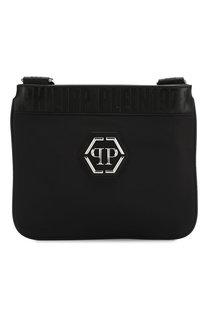 Текстильная сумка с логотипом бренда и плечевым ремнем Philipp Plein