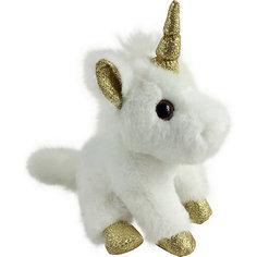 Мягкая игрушка ABtoys Единорог 15 см, белый с золотыми копытами, ушками и рогом