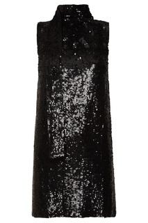 Черное шерстяное платье с пайетками P.A.R.O.S.H.
