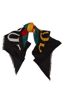 Черный шарф с логотипом Gucci