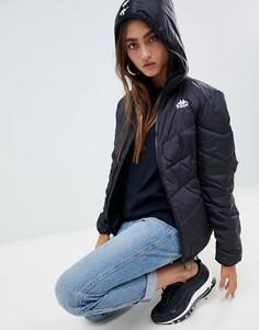 Дутая куртка с капюшоном и логотипом Kappa - Черный