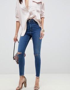 Темные джинсы скинни с прорехами и завышенной талией ASOS DESIGN Ridley - Синий