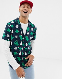 Another Influence Christmas Dinosaur Short Sleeve shirt - Темно-синий