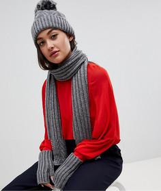 Набор из 3 предметов: шарф, шапка и перчатки темно-серого цвета Boardmans - Серый